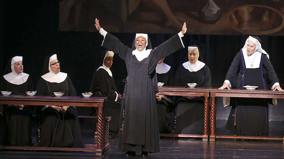 "In her protective-custody lifestyle, Deloris Van Cartier (Ta'Rea Campbell) astounds the nuns with her prayer antics in ""Sister Act."" The musical runs through Sunday at Majestic Theatre. Photo: Photos By Tom Reel / San Antonio Express-News"