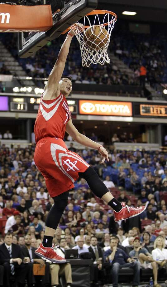 Houston Rockets guard Jeremy Lin dunks against the Sacramento Kings during the first quarter of an NBA basketball game in Sacramento, Calif., Wednesday, April 3, 2013. (AP Photo/Rich Pedroncelli) Photo: Rich Pedroncelli, Associated Press