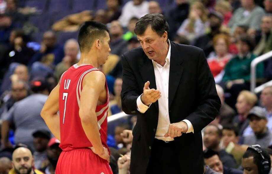 WASHINGTON, DC - JANUARY 11: Jeremy Lin #7 of the Houston Rockets talks with head coach Kevin McHale during the second quarter against the Washington Wizards at Verizon Center on January 11, 2014 in Washington, DC. NOTE TO USER: User expressly acknowledges and agrees that, by downloading and or using this photograph, User is consenting to the terms and conditions of the Getty Images License Agreement.  (Photo by Rob Carr/Getty Images) Photo: Rob Carr, Getty Images