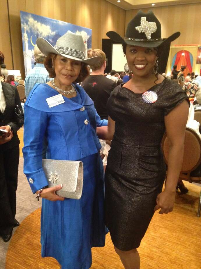 Dr. Shirley McKellar (left) and Tawana Cadien show off their Texas best at the the Texas Democratic Convention in Dallas on Thursday, June 26, 2014. Photo: Lauren McGaughy