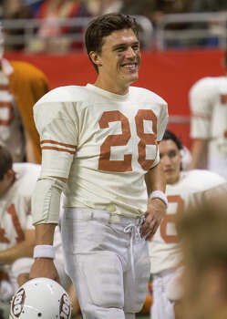 Finn Wittrock (28) on the set of My All American at the Alamodome, Thursday, June 26, 2014. Wittrock plays defensive back Freddie Steinmark, a former University of Texas football player who died of cancer. Photo: Alma E. Hernandez, Alma E. Hernandez / For The San