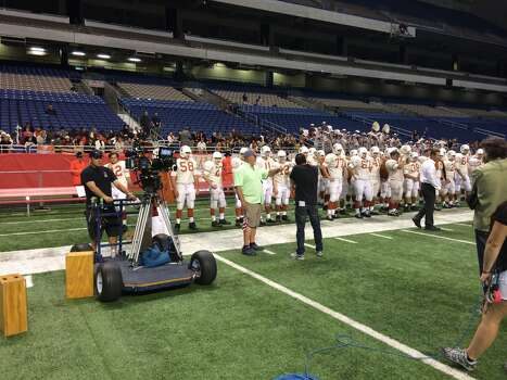 Film crews at the Alamodome to film a portion of a movie. Photo: Kolten Parker/Express-News