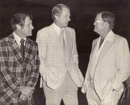 From left: Texas A&M head coach Emory Ballard, Arkansas coach Frank Broyles and Texas coach Darrell Royal circa 1975.
