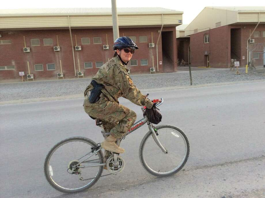U.S. Navy medic Jeanette Barrows gets around Kandahar Air Force Base in Afghanistan. Photo: Contributed Photo / The News-Times Contributed
