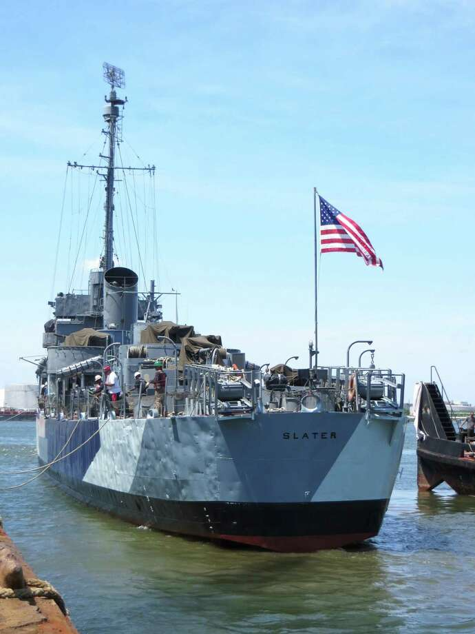 The paint scheme of the USS Slater, shown in Staten Island, was returned to its dazzle camouflage look from World War II.  (Destroyer Escort Historical Museum photo)