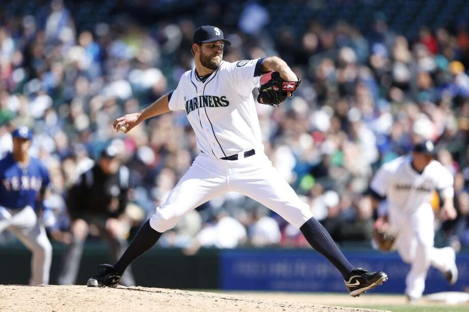 "Tom Wilhelmsen, relief pitcher  Grade: B+  2014 stats: 30 games, 0-1 record, 2.63 ERA, 37 strikeouts, 20 walks, 12 earned runs  No longer depended upon as Seattle's closer, ""The Bartender"" has remained one of Seattle's trickiest pitchers to hit. Wilhelmsen has had a handful of bad   outings yet has bounced back every time. Photo: Joe Robbins, Getty Images"