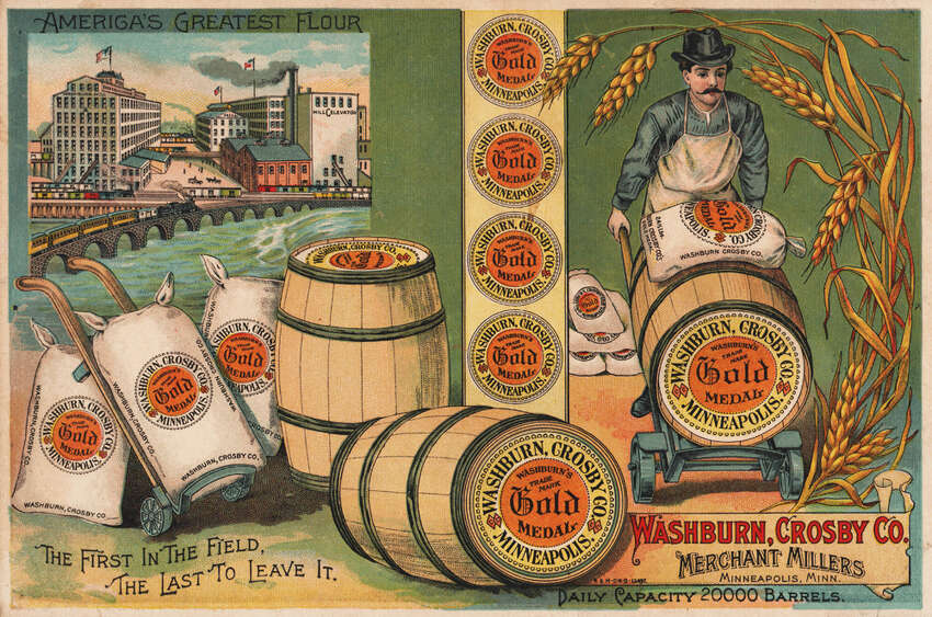 The famous flour is advertised here by the Washburn-Crosby Company, which eventually became General Mills.