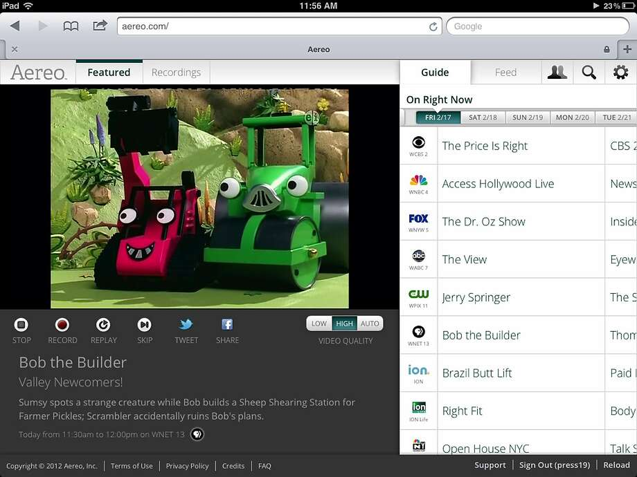 "Aereo streams ""Bob the Builder"" from the New York PBS station, WNET 13. Photo: Uncredited, Associated Press"