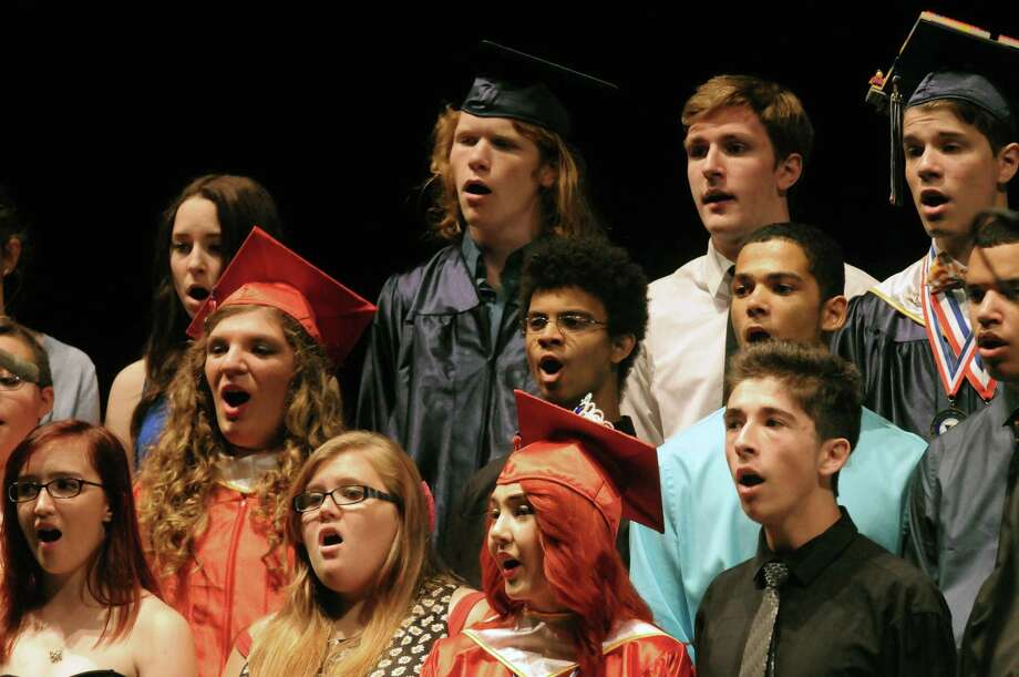 "Members of the Schenectady High School Chorus perform ""Time To Say Goodbye"" during the school's graduation exercise at Proctors Theater on Friday, June 26, 2014, in Schenectady, N.Y. (Michael P. Farrell/Times Union) Photo: Michael P. Farrell / 0027260A"