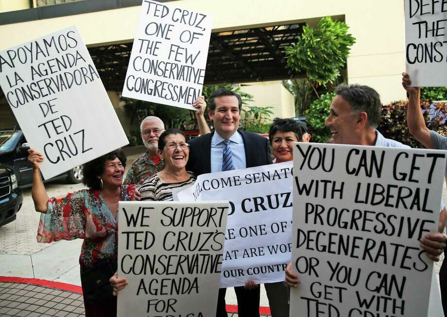 Sen. Ted Cruz, in Miami for the recent Lincoln Day Dinner, stands with supporters at Miami International Airport. Should Cruz run for president, a reader sees parallels between Cruz and a presidential nominee of old. Photo: Emily Michot / Associated Press / The Miami Herald