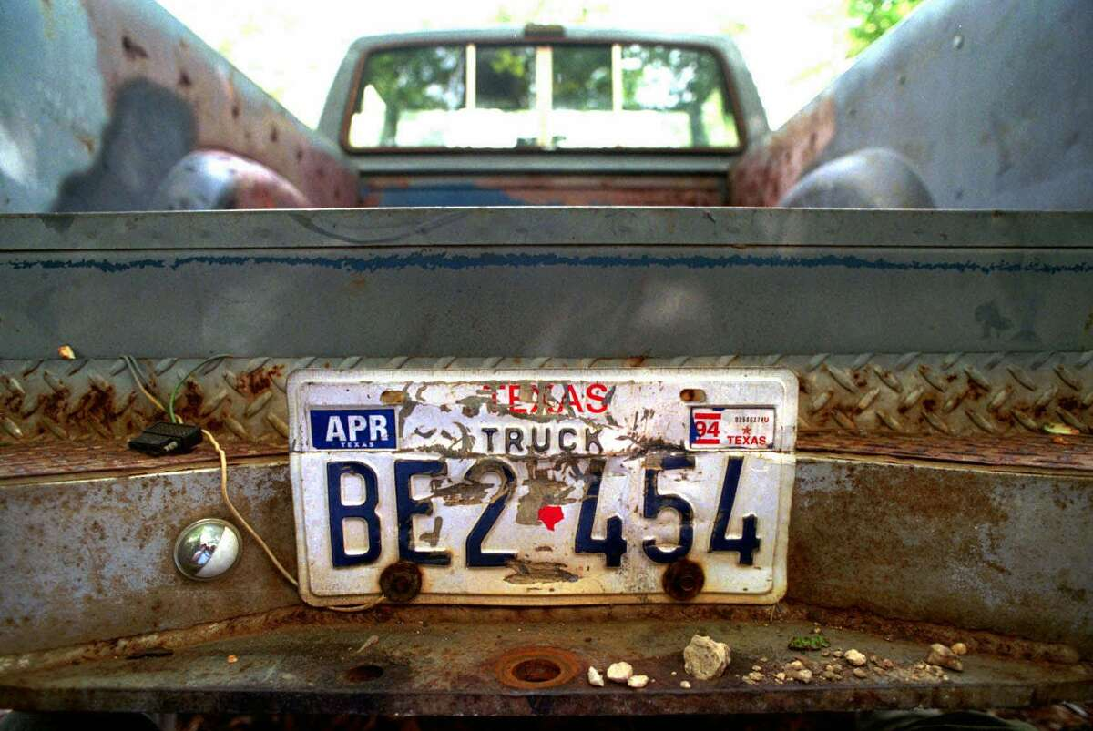 FILE - In a Thursday, June 11, 1998 file photo, the rear of the 1982 pickup truck owned by Shawn Allen Berry, 23, of Jasper, Texas, is shown. The ball of the hitch has been removed by the FBI in their investigation into the death of James Byrd Jr. Lawrence Russell Brewer, 44, one of two purported white supremacists condemned for Byrdés death, is set for execution Wednesday for participating in chaining Byrd to the back of a pickup truck, dragging the black man along the road and dumping what was left of his shredded body outside a black church and cemetery. Lawrence Russell Brewer, 44, one of two purported white supremacists condemned for Byrdés death, is set for execution Wednesday, Sept. 21, 2011 for participating in chaining Byrd to the back of a pickup truck, dragging the black man along the road and dumping what was left of his shredded body outside a black church and cemetery. John William King, 36, also was convicted of capital murder and sent to death row. His case remains under appeal. Berry, 36, received a life prison term. (AP Photo/The Beaumont Enterprise, Ron Jaap, File)