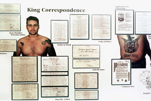 This display showing photos of John William King and some of his correspondence was admitted as evidence Tuesday, Feb. 16, 1999, during his capital murder trial in Jasper, Texas. King is one of three white men charged in the dragging death of James Byrd Jr. Enterprise file photo