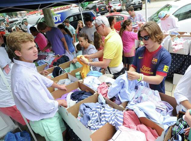 Clothes at vineyard vines during the annual greenwich sidewalk sales
