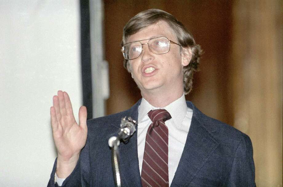 CONTACT FILED: BILL GATES.  04/07/1987 - Microsoft Corp. founder Bill Gates speaks to HAL-PC (Houston Area League of Personal Computer Users) Photo: Howard Castleberry, Staff / Houston Chronicle