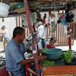 June 26, 2014, 12:38 p.m., Matamoros, Tamaulipas, Mexico - Nopales vendor Leoncio Aguilar is joined by his grandson, Valetin Lopez Gamez, at his decorative stand selling edible cactus on the streets of Matamoros.