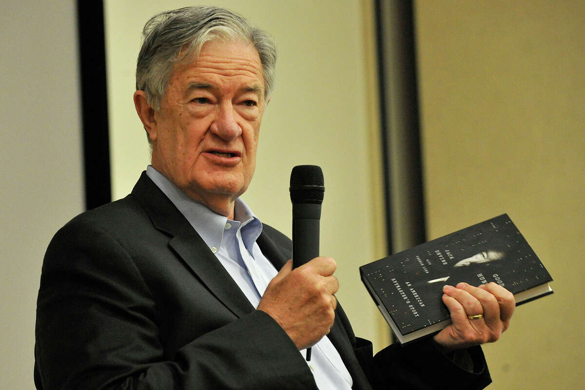Jack Devine, former Directorate of Operations at the CIA, speaks as part of the Civility in America lecture series at the Ferguson Library in Stamford, Conn., on Tuesday, June 24, 2014. Devine authored the book he is holding