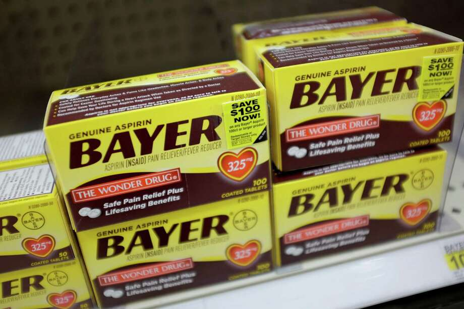 MIAMI, FL - MAY 06:  Bayer asprin products are seen on a store shelf on May 6, 2014 in Miami, Florida. The manufacturer of the asprin Germany's Bayer AG announced plans to purchase U.S. drug company Merck & Co.'s non-prescription medicine and consumer care business for $14.2 billion, it includes products such as Claritin allergy pills, Coppertone sun lotion and Dr. Scholl's foot care products. Photo: Joe Raedle, Getty Images / 2014 Getty Images