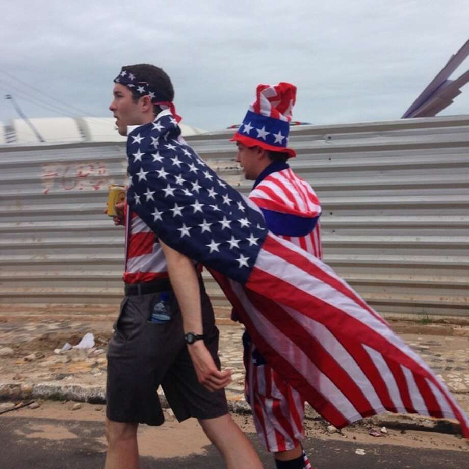 Pre game stroll. USA vs Ghana in Group G tonight in Natal, Brazil.  Photo: Julio Cortez, Associated Press / AP