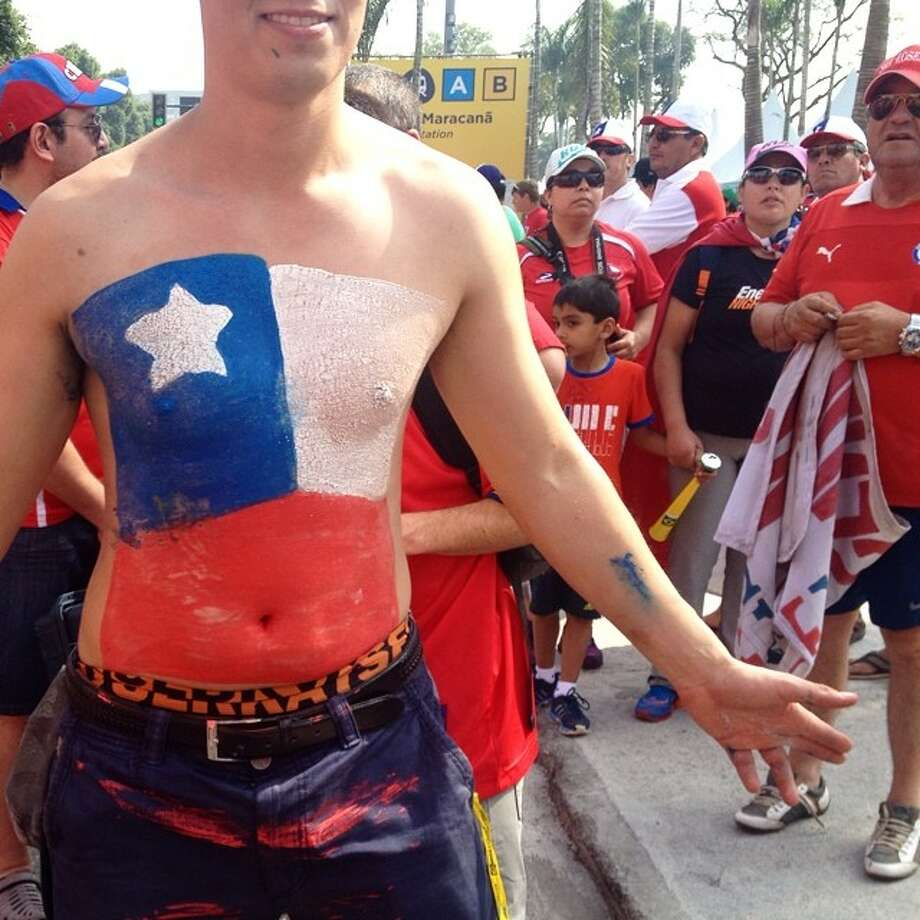 A Chile fan outside Maracana stadium before the match against Spain in Rio de Janeiro. (AP Photo/Natacha Pisarenko) Photo: Natacha Pisarenko, Associated Press / AP