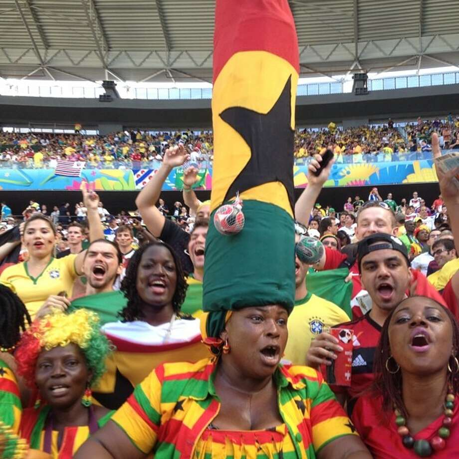 Ghana fans cheer on their team during a World Cup match in Fortaleza, Brazil.  Photo: Marcio Jose Sanchez, Associated Press / AP