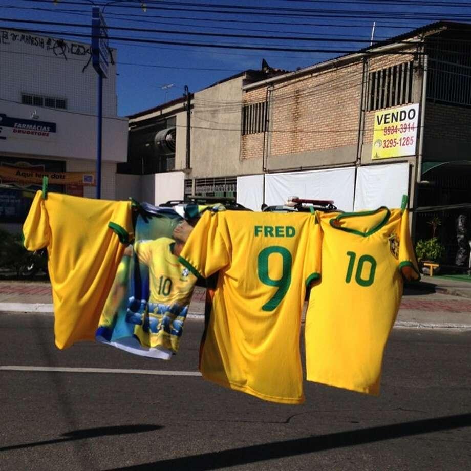 Brazilian 'fake' team jerseys for sale in Salvador. Photo: Bernat Armangue, Associated Press / AP