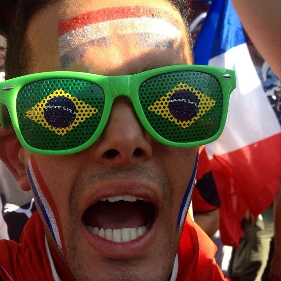 French fan at Maracana stadium, Rio de Janeiro. Photo: Natacha Pisarenko, Associated Press / AP