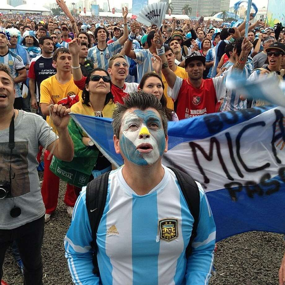 Uruguay fans watch their World Cup game. Photo: Dario Lopez Mills, Associated Press / AP