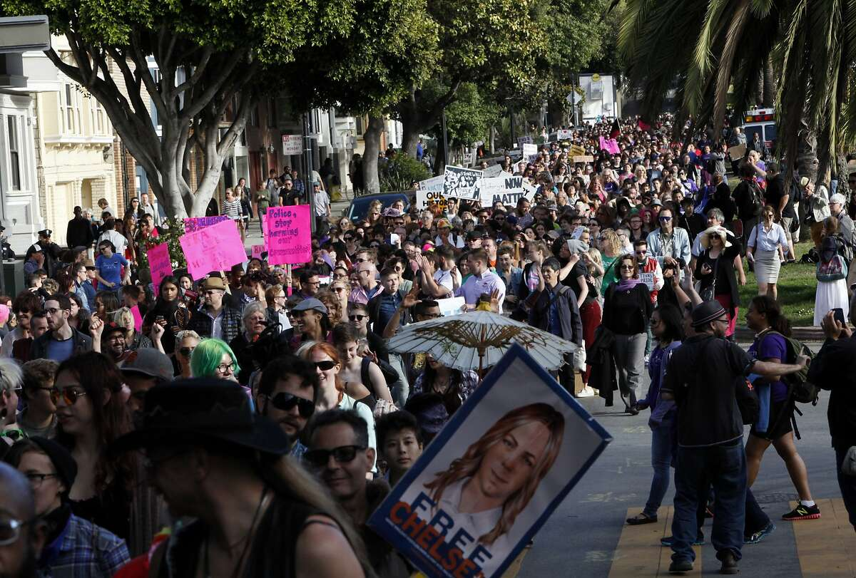 Trans March 2014 makes its way down Dolores St. in San Francisco, Calif., on Friday, June 27, 2014.