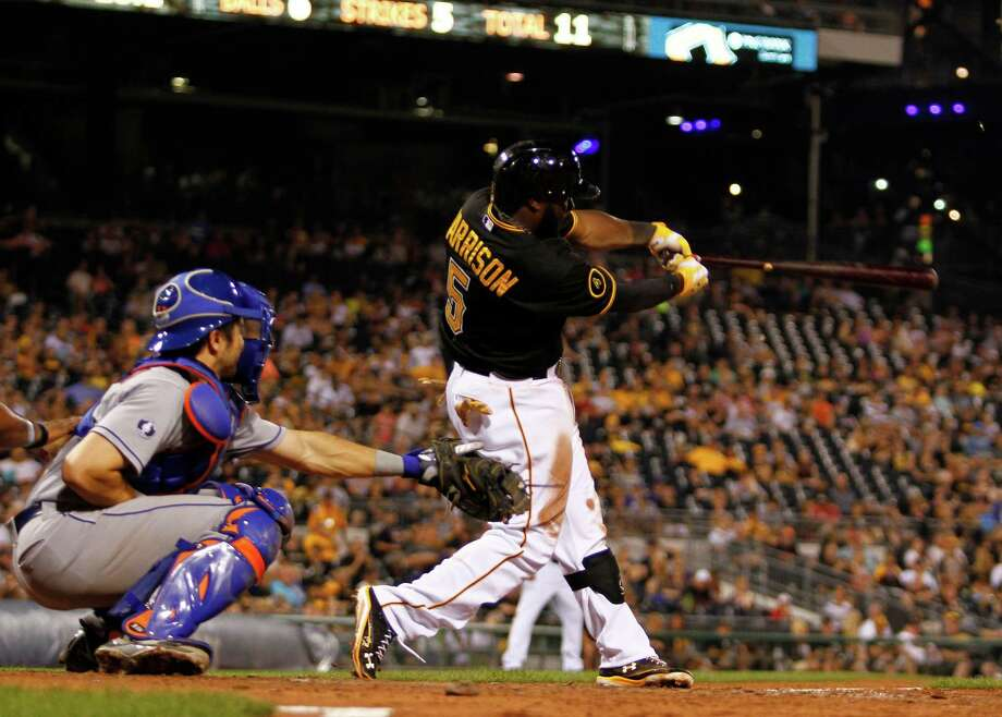 PITTSBURGH, PA - JUNE 27:  Josh Harrison #5 of the Pittsburgh Pirates hits a walk off double in the 11th inning against the New York Mets during the game at PNC Park on June 27, 2014 in Pittsburgh, Pennsylvania.  (Photo by Justin K. Aller/Getty Images) ORG XMIT: 477585715 Photo: Justin K. Aller / 2014 Getty Images