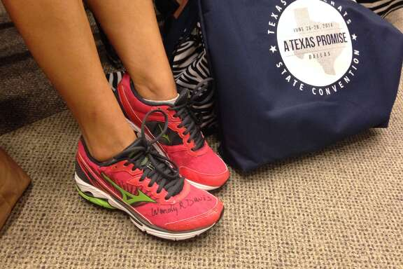 Pink sneakers were the shoe of choice for Texas Democrats meeting in Dallas this weekend.