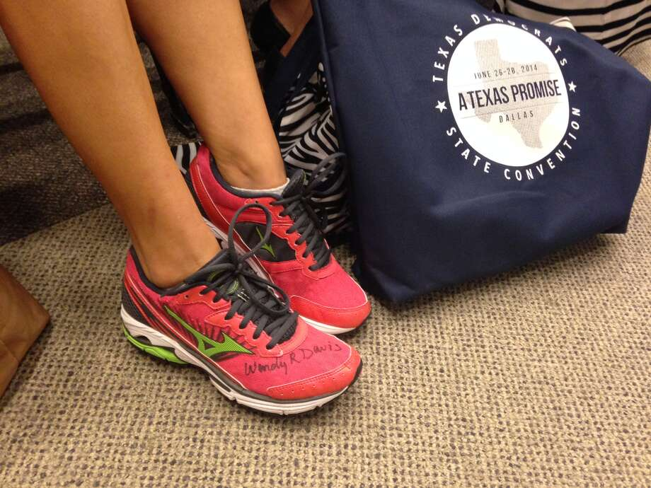 This delegate to the Texas Democratic Convention sported a pair of the same Mizuno Wave Rider sneakers worn by Sen. Wendy Davis during her 11-hour filibuster of abortion legislation in 2013. Photo: Lauren McGaughy