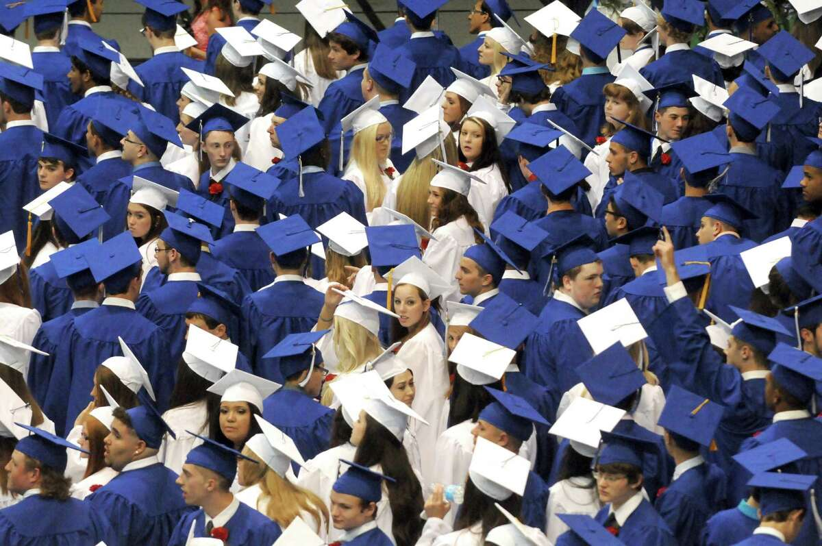 Shaker High School graduates process during their graduation ceremony at the SEFCU Arena on Saturday June 28, 2014 in Albany, N.Y. (Michael P. Farrell/Times Union)