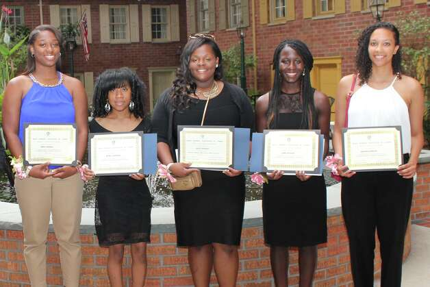 The Black Women's Association of Albany awarded $1,000 scholarships at  its ninth annual scholarship luncheon at The Desmond Hotel in Colonie on  June 14. This community service organization has been active for 10 years.  Shown, from left, are India Terrell (Albany High), Myra Johnson (Troy High), Ashley Newman (Columbia High), Jane Ogagan (Scotia-Glenville High) and  Raiona Duncan (Colonie Central High). Imani Randolph (Doane Stuart) and Taylor Keith (Albany Leadership Charter High for Girls) also won but were not available. (Photo by Yvonne Abunaw)