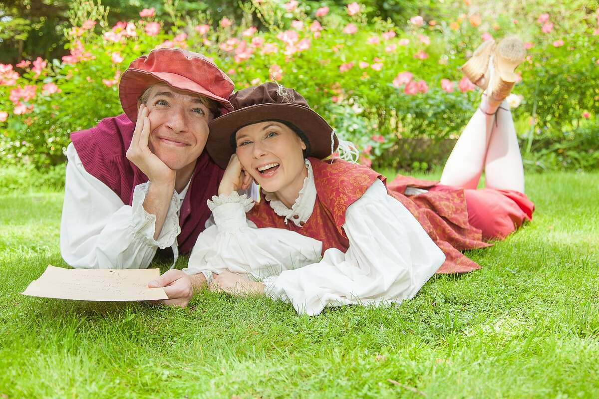 """Elena Wright, right, plays Rosalind with Teddy Spencer as her Orlando in Marin Shakespeare Company's """"As You Like It"""""""