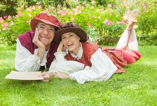 "Elena Wright, right, plays Rosalind with Teddy Spencer as her Orlando in Marin Shakespeare Company's ""As You Like It"""