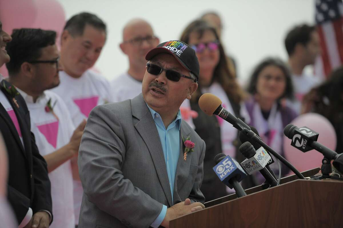San Francisco mayor Ed Lee speaks during a ceremony commemorating the construction of the pink triangle at Twin Peaks on June 28, 2014 in San Francisco, CA. The Pink Triangle, symbol of the oppression of LGBT people, was built on Twin Peaks Saturday in recognition of the pride celebration.