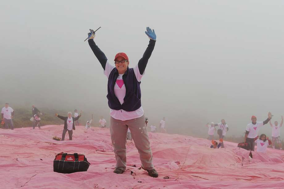 Volunteers including Kathryn Strohecker hold their hands high for a group photo along the slope of Twin Peaks on June 28, 2014 in San Francisco, CA. The Pink Triangle, symbol of the oppression of LGBT people, was built on Twin Peaks Saturday in recognition of the pride celebration. Photo: Craig Hudson, The Chronicle