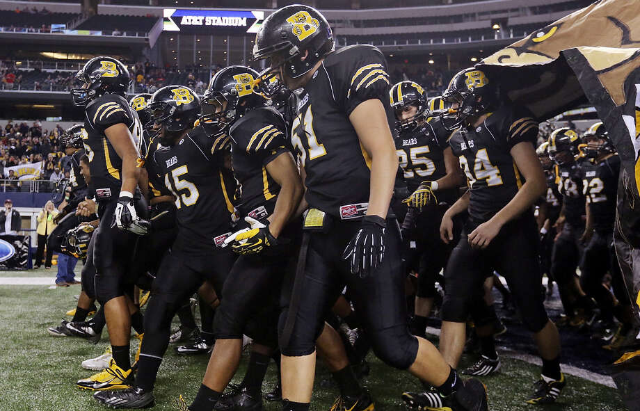 The Brennan Bears take the field before their Class 4A Division I state championship game against Denton Guyer on Dec. 20 at AT&T Stadium in Arlington. On the heels of a 15-1 season, the Bears will move up to Class 6A this fall. Photo: Edward A. Ornelas / San Antonio Express-News / © 2013 San Antonio Express-News