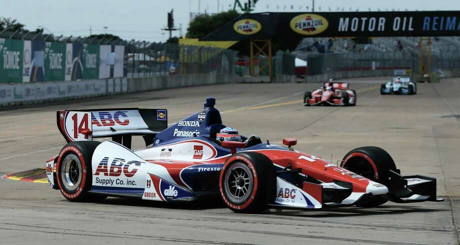 HOUSTON, TX - JUNE 28:  Takuma Sato of Japan, driver of the #14 ABC Supply A.J. Foyt Racing Dallara Honda, races during qualifying for the Verizon IndyCar Series Shell and Pennzoil Grand Prix of Houston Race #1 at NRG Park on June 28, 2014 in Houston, Texas. Photo: Scott Halleran, Getty Images / 2014 Getty Images