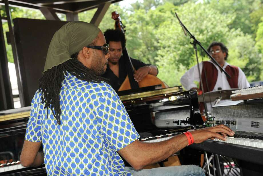 The Marc Cary Focus Trio featuring Rashaan Carter, bass, and Sameer Gupta, drums,performs on the gazebo stage during the 2014 Freihofer's Saratoga Jazz Festival  on Saturday June 28, 2014 in Saratoga Springs, N.Y. (Michael P. Farrell/Times Union) Photo: Michael P. Farrell / 00027434A