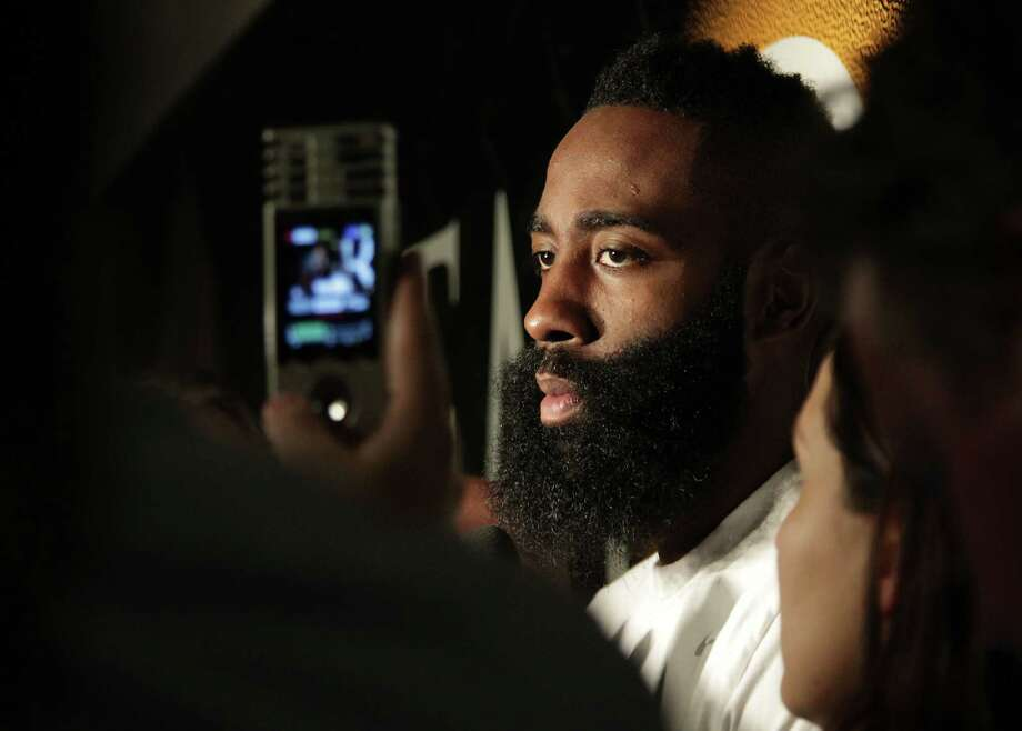 Rockets guard James Harden says he would welcome the addition of another superstar to the team. Photo: James Nielsen, Staff / © 2014  Houston Chronicle