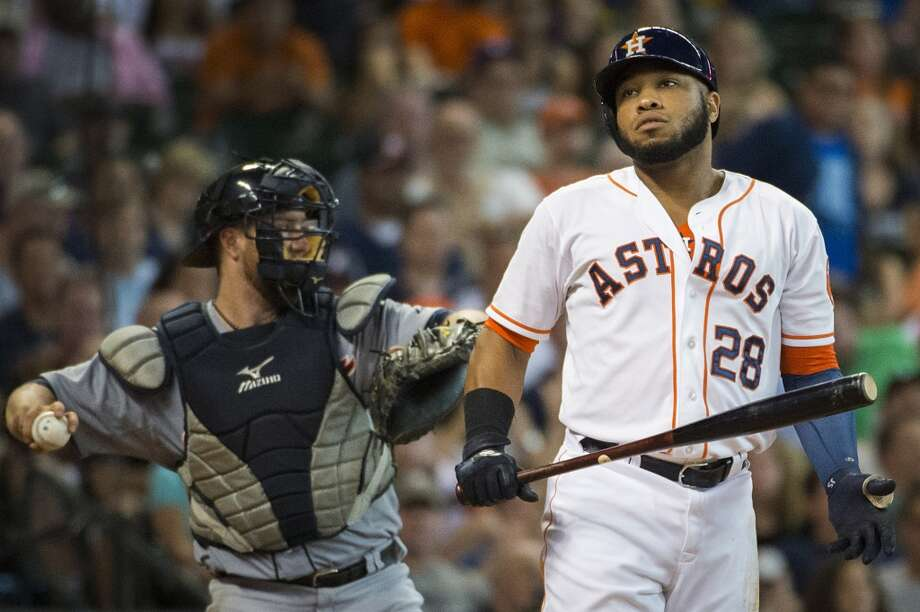 Astros first baseman Jon Singleton reacts after striking out in the eighth inning. Photo: Smiley N. Pool, Houston Chronicle