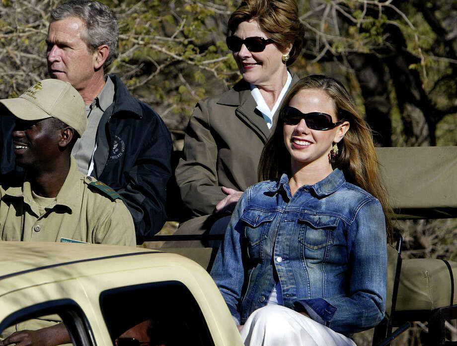 Barbara Bush, right, says it was on a 2003 trip with her parents to Africa, above, that she was inspired to choose a career path in global health. Photo: J. Scott Applewhite, STF / AP