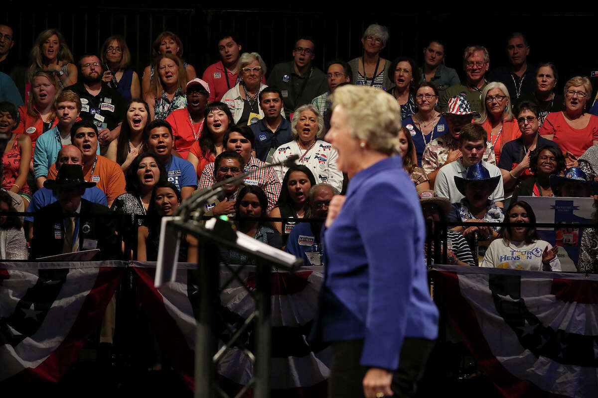 Houston Mayor Annise Parker fires up the crowd during her speech at the Texas Democratic State Convention at the Dallas Convention Center in Dallas on Friday, June 27, 2014.
