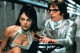"""Elizabeth Hurley and Mike Myers in """"Austin Powers: International Man of Mystery."""""""