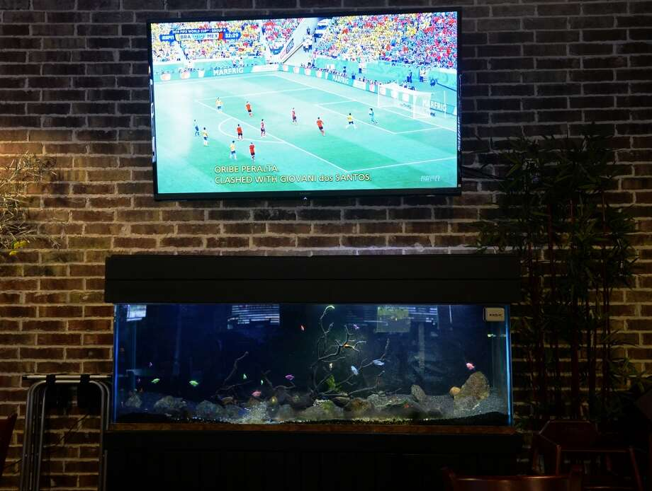 The World Cup plays on a television above an aquarium at Kevin Rico Seafood on Tuesday. Kevin Rico Seafood and Oyster Bar in Port Arthur is the Cat5 Restaurant of the Week for June 26, 2014. Photo taken Tuesday 6/17/14 Jake Daniels/@JakeD_in_SETX