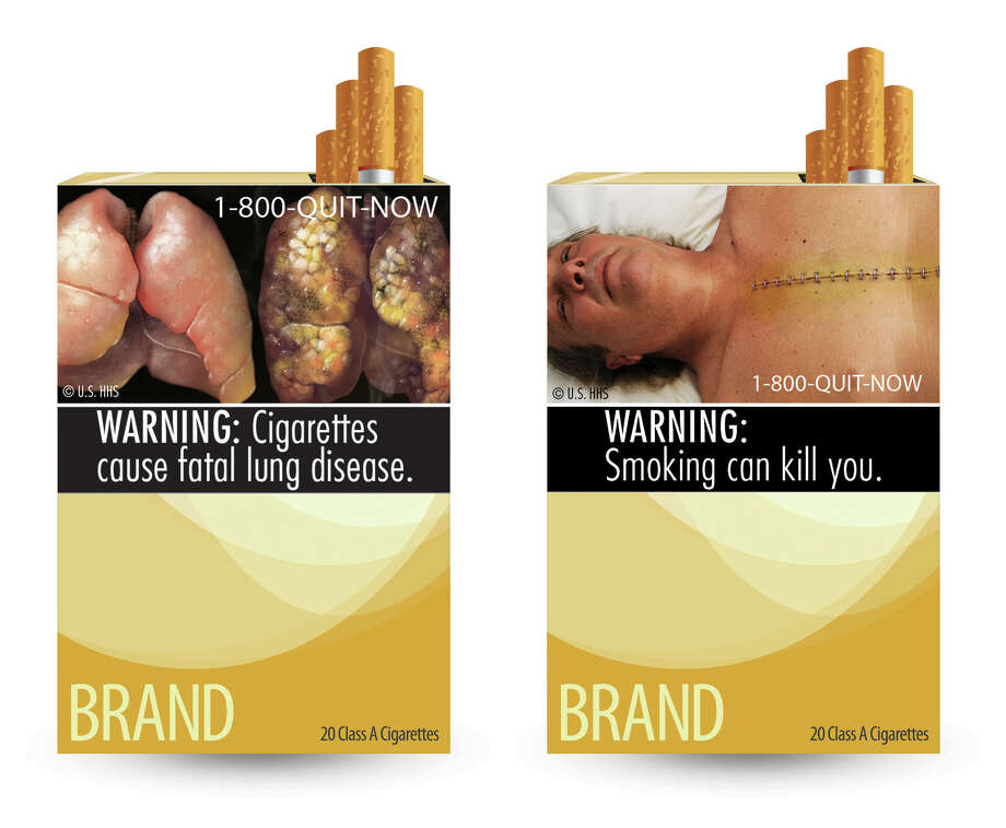 This combination photo made from file images provided by the U.S. Food and Drug Administration shows two of nine cigarette warning labels from the FDA. A judge on Wednesday, Feb. 29, 2012 blocked the federal requirement that would have begun forcing U.S. tobacco companies to put large graphic images on their cigarette packages later this year to show the dangers of smoking and encouraging smokers to quit lighting up. Photo: Anonymous, AP  / U.S. Food and Drug Administration