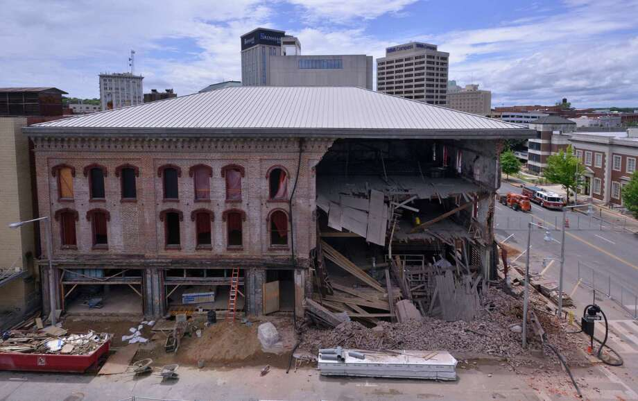Streets are blocked off after a partial collapse of the Webber Building in downtown Montgomery, Ala., on Thursday, June 26, 2014. The 150 year old building was being restored. There were no injuries. Photo: Lloyd Gallman, AP  / AP2014