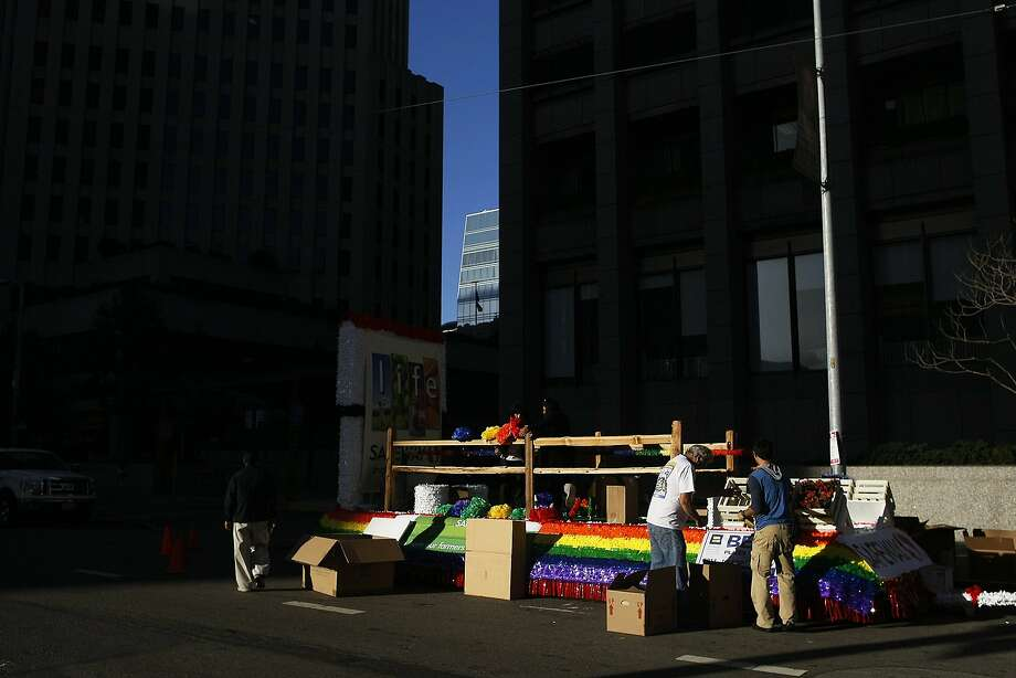 The Safeway float is decorated before the Pride Parade in San Francisco, Calif. on Sunday, June 29, 2014. The annual Pride Parade featured appearances from LGBT groups as well as local companies. Photo: James Tensuan, The Chronicle