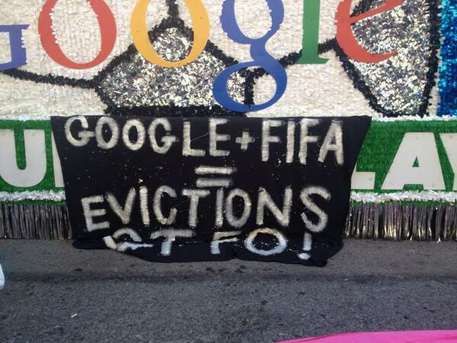 Google + FIFA = evictions GTFO! Photo: The Chronicle